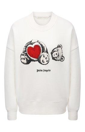 Женский хлопковый свитшот PALM ANGELS белого цвета, арт. PWBA017S21FLE0040401   Фото 1