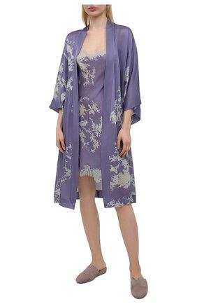 Женская шелковая сорочка CARINE GILSON сиреневого цвета, арт. RG0353CP S21 | Фото 2