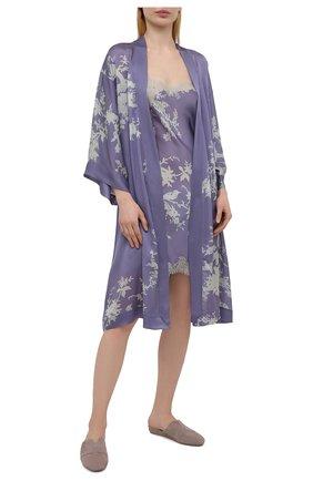 Женский шелковый халат CARINE GILSON сиреневого цвета, арт. RG09680G S21 | Фото 2