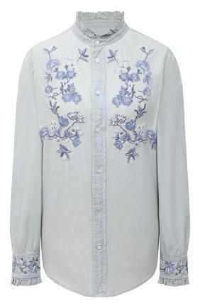 Женская хлопковая рубашка POLO RALPH LAUREN голубого цвета, арт. 211838068 | Фото 1