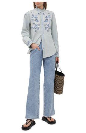 Женская хлопковая рубашка POLO RALPH LAUREN голубого цвета, арт. 211838068 | Фото 2