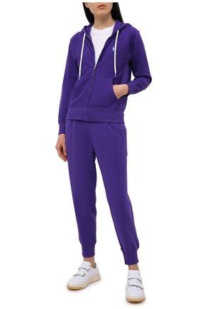 Женские хлопковые джоггеры POLO RALPH LAUREN фиолетового цвета, арт. 211780215 | Фото 2