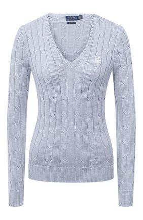 Женский хлопковый пуловер POLO RALPH LAUREN голубого цвета, арт. 211580008   Фото 1