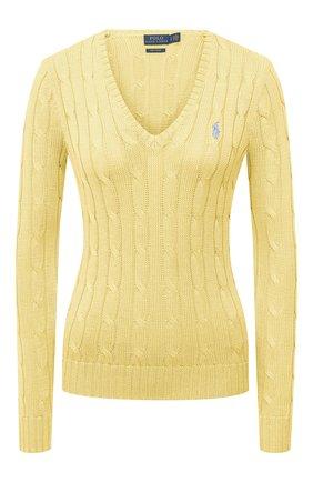 Женский хлопковый пуловер POLO RALPH LAUREN желтого цвета, арт. 211580008   Фото 1