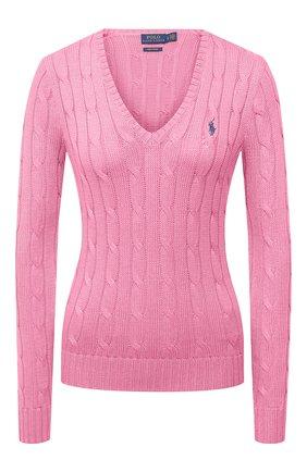 Женский хлопковый пуловер POLO RALPH LAUREN розового цвета, арт. 211580008   Фото 1