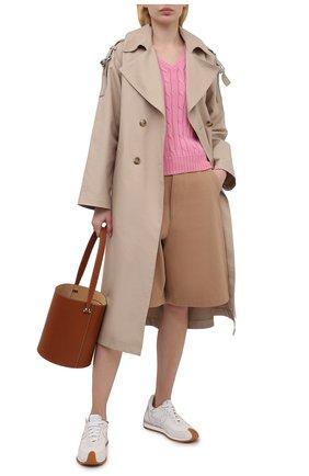 Женский хлопковый пуловер POLO RALPH LAUREN розового цвета, арт. 211580008   Фото 2