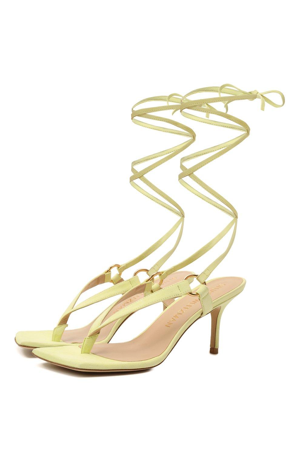 Женские кожаные босоножки lalita 75 STUART WEITZMAN желтого цвета, арт. S0870   Фото 1 (Материал внутренний: Натуральная кожа; Каблук высота: Средний; Каблук тип: Шпилька; Подошва: Плоская)