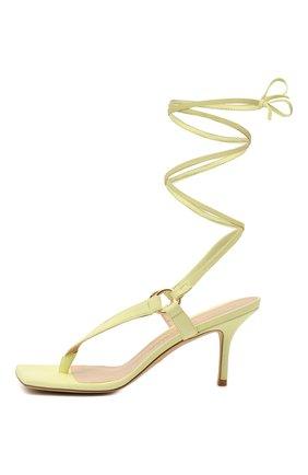 Женские кожаные босоножки lalita 75 STUART WEITZMAN желтого цвета, арт. S0870   Фото 3 (Материал внутренний: Натуральная кожа; Каблук высота: Средний; Каблук тип: Шпилька; Подошва: Плоская)