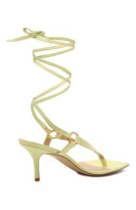 Женские кожаные босоножки lalita 75 STUART WEITZMAN желтого цвета, арт. S0870   Фото 4 (Материал внутренний: Натуральная кожа; Каблук высота: Средний; Каблук тип: Шпилька; Подошва: Плоская)
