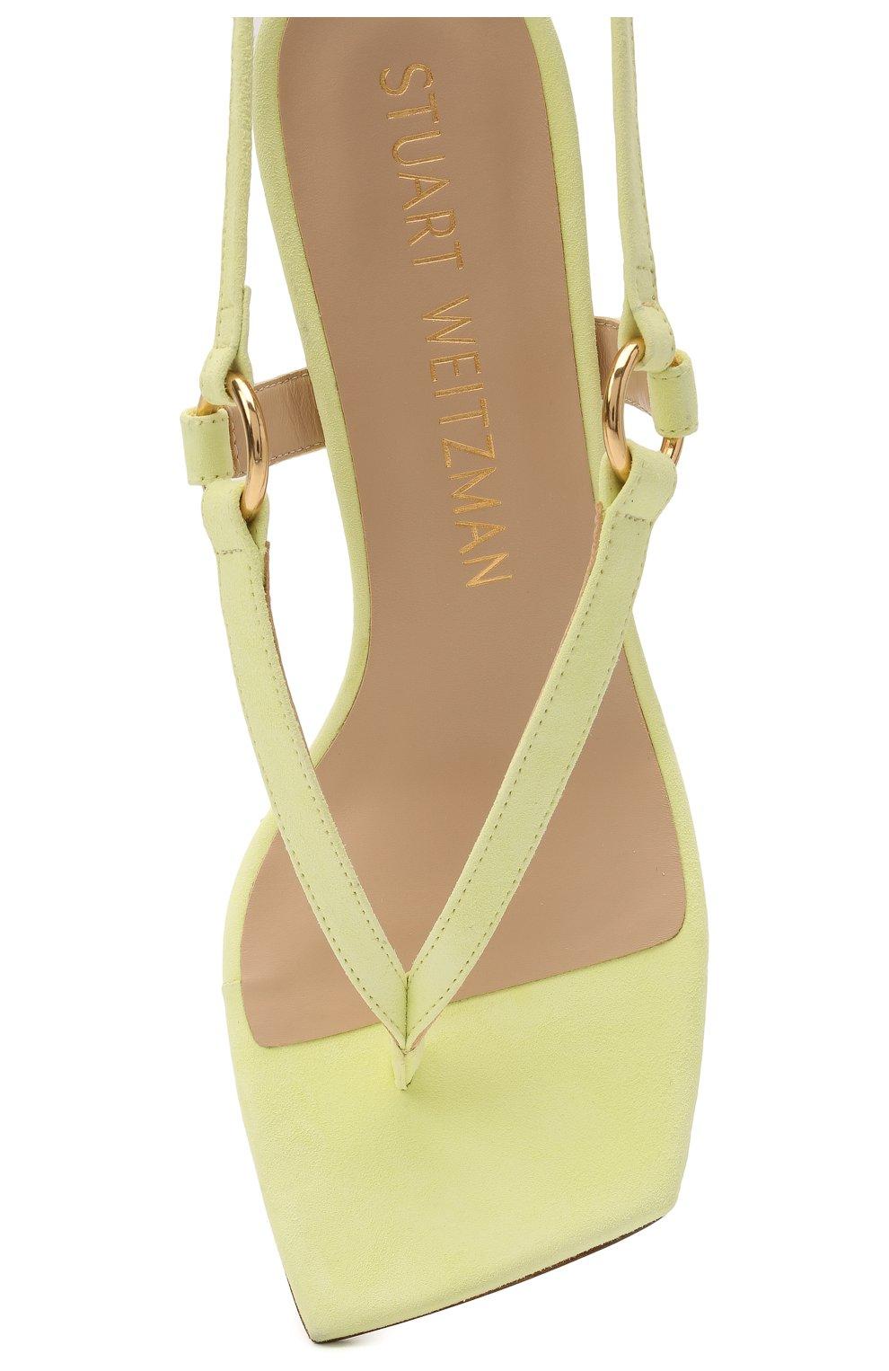 Женские кожаные босоножки lalita 75 STUART WEITZMAN желтого цвета, арт. S0870   Фото 5 (Материал внутренний: Натуральная кожа; Каблук высота: Средний; Каблук тип: Шпилька; Подошва: Плоская)