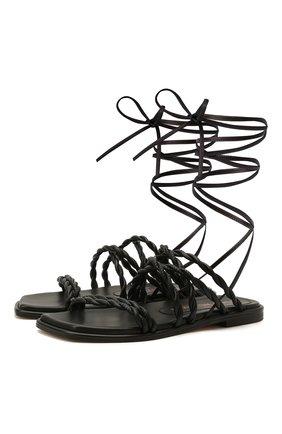 Женские кожаные сандалии calypso STUART WEITZMAN черного цвета, арт. S0998 | Фото 1
