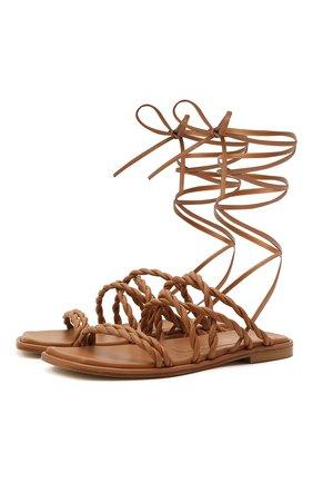Женские кожаные сандалии calypso STUART WEITZMAN коричневого цвета, арт. S0998 | Фото 1
