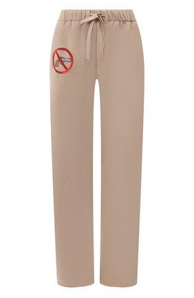 Женские хлопковые брюки NATASHA ZINKO бежевого цвета, арт. SS21503-15 | Фото 1