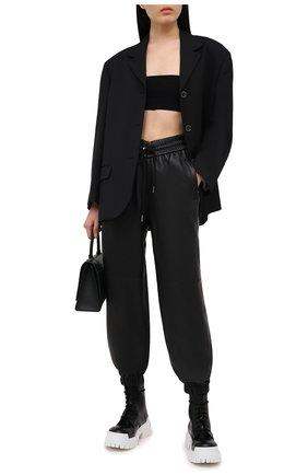 Женские кожаные джоггеры ALEXANDER WANG черного цвета, арт. 1WC2214353 | Фото 2