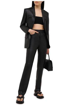 Женские кожаные брюки ALEXANDER WANG черного цвета, арт. 1WC2214351   Фото 2