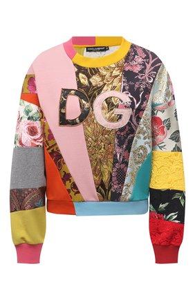 Женский свитшот DOLCE & GABBANA разноцветного цвета, арт. F9I83Z/G7Y0N | Фото 1 (Рукава: Длинные; Длина (для топов): Стандартные; Материал внешний: Синтетический материал, Хлопок; Стили: Спорт-шик; Женское Кросс-КТ: Свитшот-одежда)