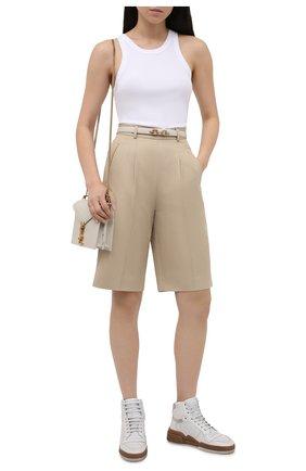 Женские кожаные кроссовки sl24 SAINT LAURENT белого цвета, арт. 610619/04GA0 | Фото 2