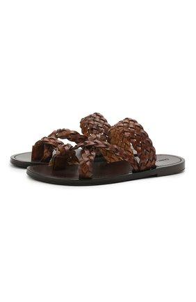 Женские кожаные шлепанцы neil SAINT LAURENT коричневого цвета, арт. 650728/0MU00   Фото 1