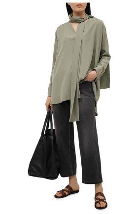 Женские кожаные шлепанцы neil SAINT LAURENT коричневого цвета, арт. 650728/0MU00   Фото 2