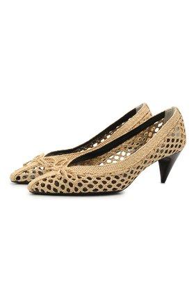 Женские текстильные туфли kim SAINT LAURENT бежевого цвета, арт. 650867/2R000   Фото 1