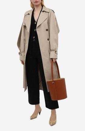 Женские текстильные туфли kim SAINT LAURENT бежевого цвета, арт. 650867/2R000   Фото 2