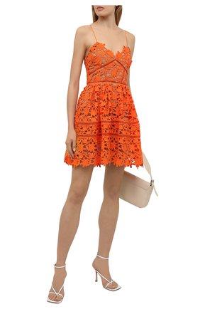 Женское платье SELF-PORTRAIT оранжевого цвета, арт. SS21-089 | Фото 2