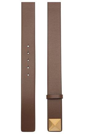 Женский кожаный ремень  VALENTINO темно-коричневого цвета, арт. VW0T0V41/JKY | Фото 2 (Материал: Кожа)
