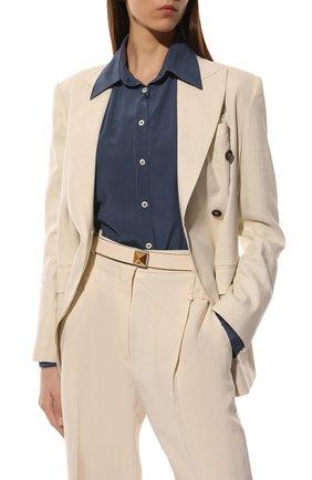 Женский кожаный ремень  VALENTINO светло-бежевого цвета, арт. VW0T0V41/JKY | Фото 2 (Материал: Кожа)