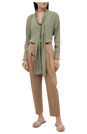 Женские хлопковые брюки BOSS бежевого цвета, арт. 50448216 | Фото 2