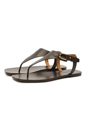Женские кожаные сандалии delancie RALPH LAUREN темно-коричневого цвета, арт. 800841322 | Фото 1 (Каблук высота: Низкий; Подошва: Плоская)