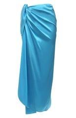 Женская шелковая юбка BALENCIAGA голубого цвета, арт. 658183/TKN01 | Фото 1