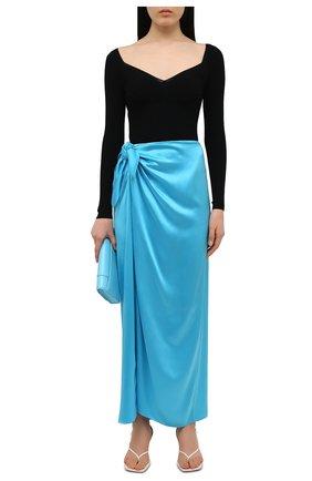 Женская шелковая юбка BALENCIAGA голубого цвета, арт. 658183/TKN01 | Фото 2