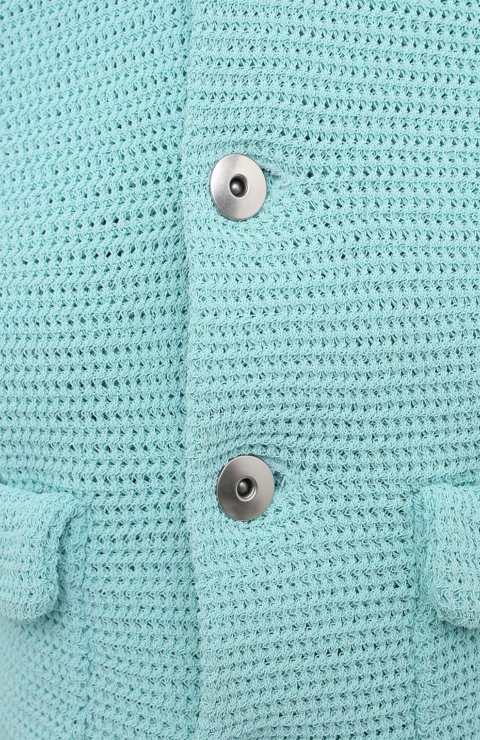 Женский хлопковый жакет BOTTEGA VENETA голубого цвета, арт. 656076/V0S90 | Фото 5
