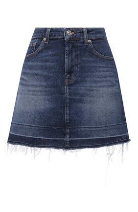 Женская джинсовая юбка 7 FOR ALL MANKIND синего цвета, арт. JSQF1200LG   Фото 1