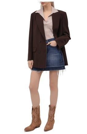 Женская джинсовая юбка 7 FOR ALL MANKIND синего цвета, арт. JSQF1200LG   Фото 2
