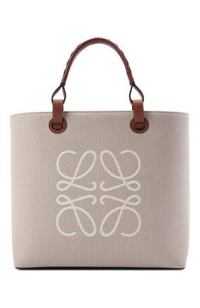 Женский сумка-тоут anagram LOEWE кремвого цвета, арт. A717T23X02 | Фото 1 (Сумки-технические: Сумки-шопперы; Ошибки технического описания: Нет ширины; Материал: Текстиль; Размер: medium)