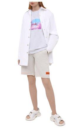 Женская хлопковая футболка MSGM серого цвета, арт. 3045MDM07 217296 | Фото 2