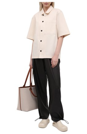 Женская хлопковая рубашка JIL SANDER бежевого цвета, арт. JPPS600305-WS241900 | Фото 2