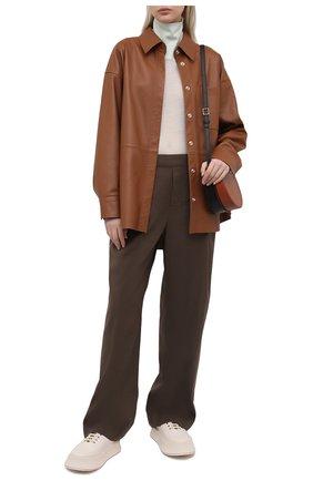 Женские брюки из льна и вискозы VINCE коричневого цвета, арт. V726121912   Фото 2