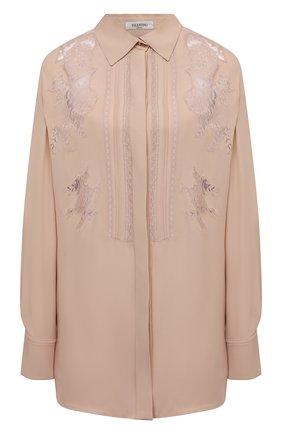 Женская шелковая блузка VALENTINO бежевого цвета, арт. VB0AB2F21MH | Фото 1