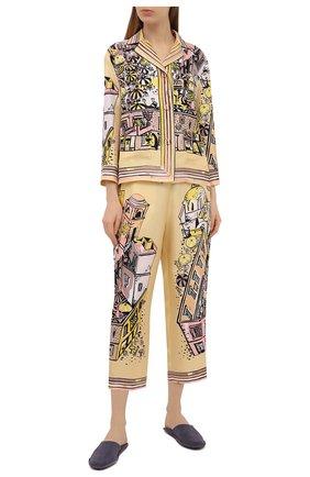 Женские шелковые брюки EMILIO PUCCI желтого цвета, арт. 1HRT20/1H721 | Фото 2