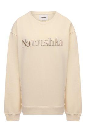 Женский хлопковый свитшот NANUSHKA кремвого цвета, арт. REMY_CREME_0RGANIC FLEECE | Фото 1