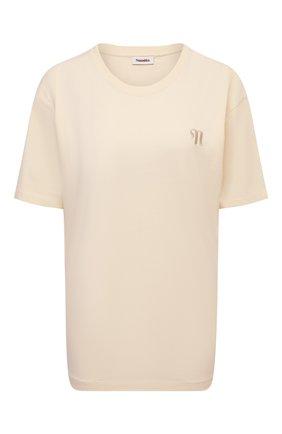 Женская хлопковая футболка NANUSHKA кремвого цвета, арт. REECE_CREME_0RGANIC JERSEY   Фото 1