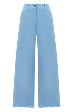 Женские брюки из хлопка и льна MSGM голубого цвета, арт. 3042MDP106 217309 | Фото 1