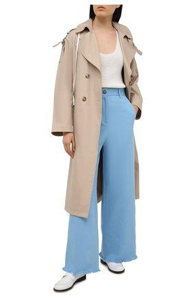 Женские брюки из хлопка и льна MSGM голубого цвета, арт. 3042MDP106 217309 | Фото 2