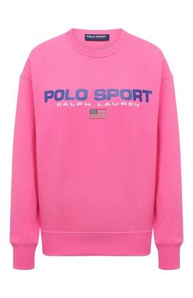 Женский хлопковый свитшот POLO RALPH LAUREN розового цвета, арт. 211838080 | Фото 1