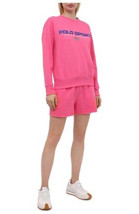 Женский хлопковый свитшот POLO RALPH LAUREN розового цвета, арт. 211838080 | Фото 2