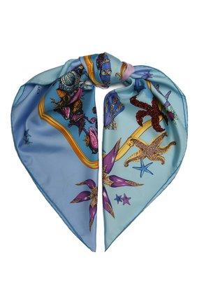 Женский шелковый платок VERSACE голубого цвета, арт. IF09001/1F01310 | Фото 1