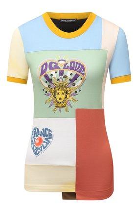 Женская хлопковая футболка DOLCE & GABBANA разноцветного цвета, арт. F8N38T/G7YPI   Фото 1