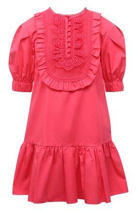 Женское хлопковое платье SELF-PORTRAIT фуксия цвета, арт. SS21-022A | Фото 1